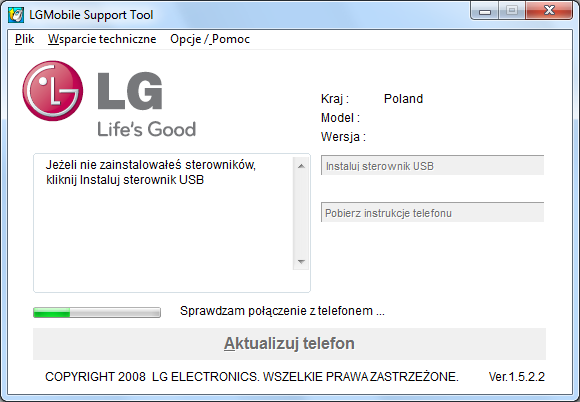 Komputer – program LGMobile Support Tool