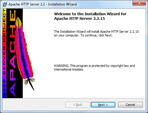 Instalacja Apache zrzut 1
