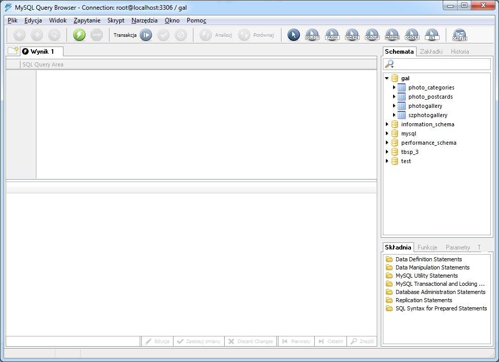 Program MySQL Administrator - okno aplikacji - zrzut 2
