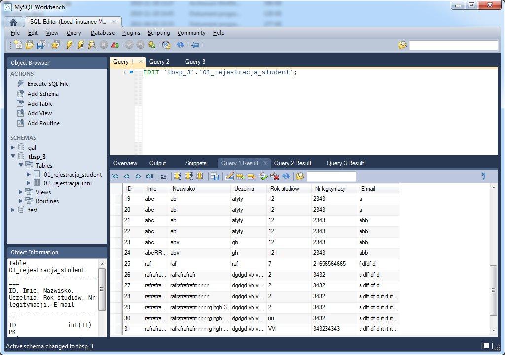 MySQL Workbench zapytanie
