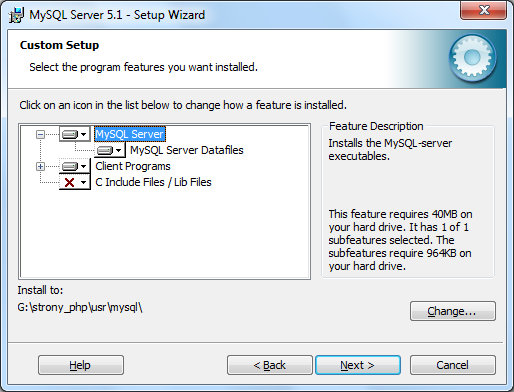 Instalacja MySQL zrzut 3