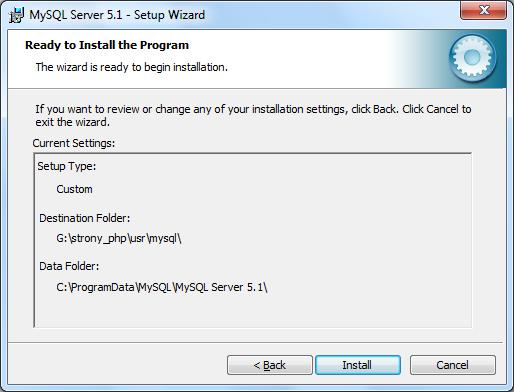 Instalacja MySQL zrzut 4