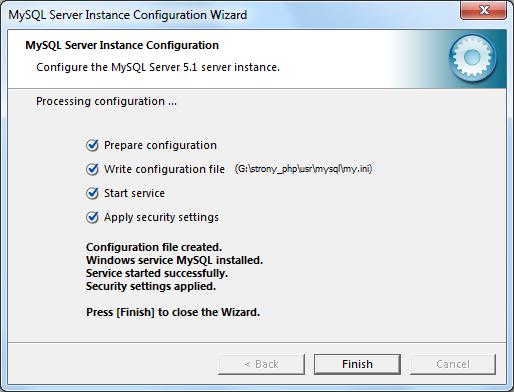 Instalacja MySQL zrzut 20