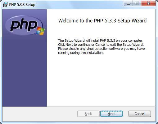 Instalacja PHP zrzut 1