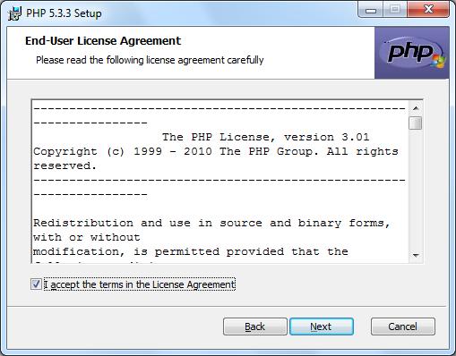 Instalacja PHP zrzut 2