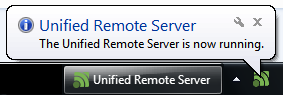 The Unified Remote Server is now running