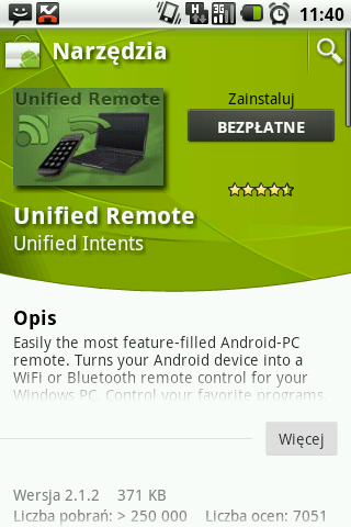 Instalacja Unified Remote z Android Market