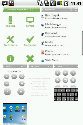 Android - Unified Remote - zrzuty prezentujące program