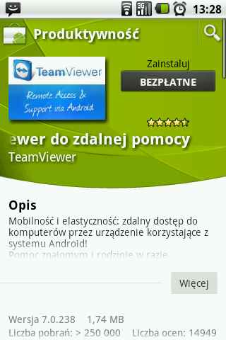Android - TeamViewer w Android Market