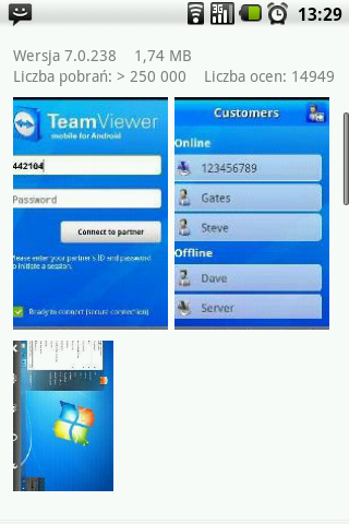Android - TeamViewer - zrzuty